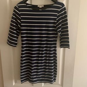 Navy Blue and White striped short dress